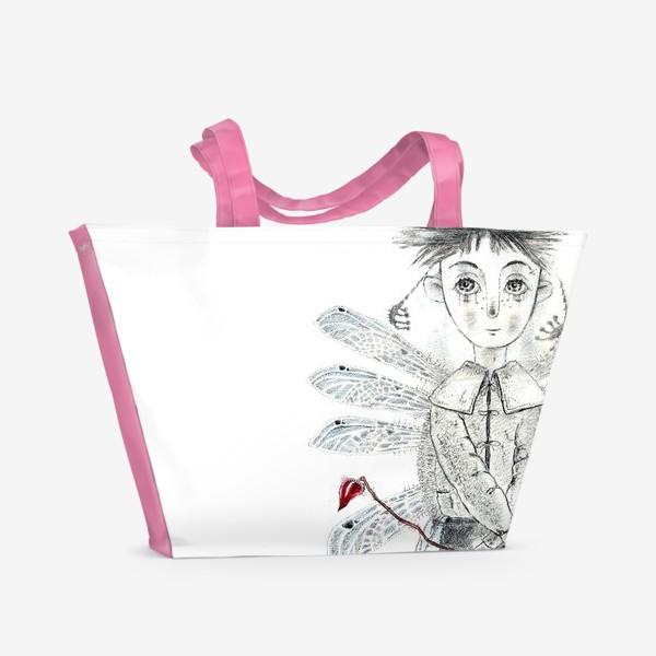 Пляжная сумка «Тебе, Мое сердечко. Крылатый мальчик.»