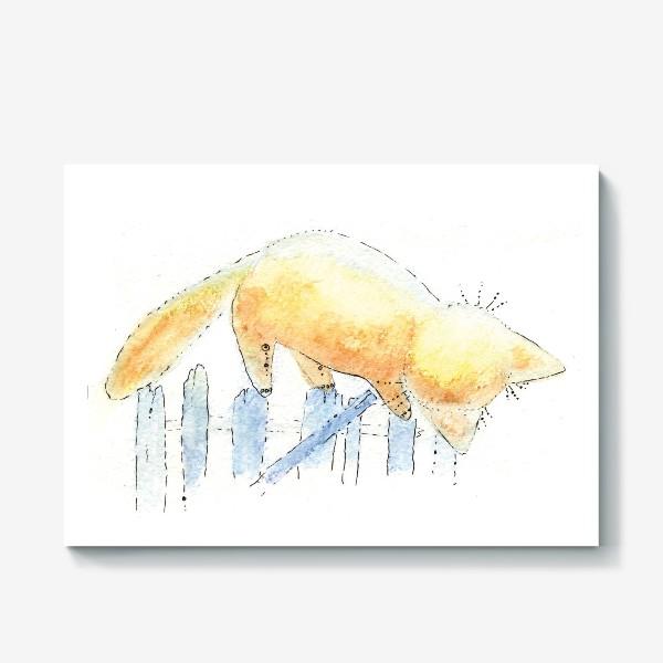 Холст «Котик на заборе»