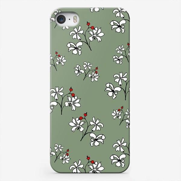 """Чехол iPhone «Паттерн """"Белые цветы""""»"""