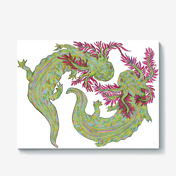 Холст «dancing axolotl»