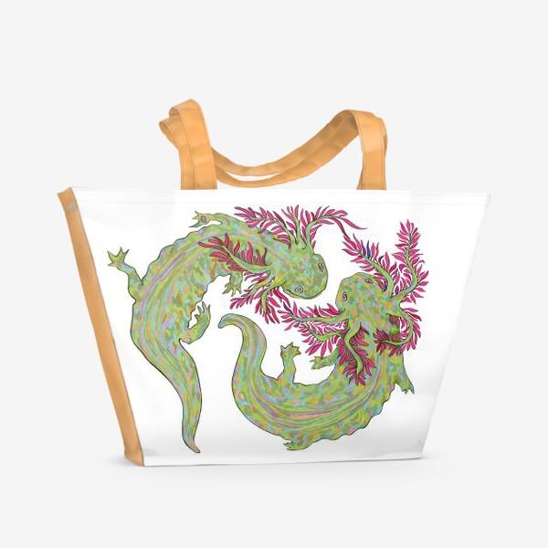 Пляжная сумка «dancing axolotl»