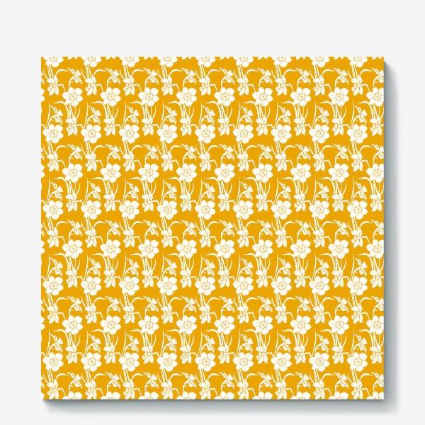 Холст «Нарциссы на желтом фоне»