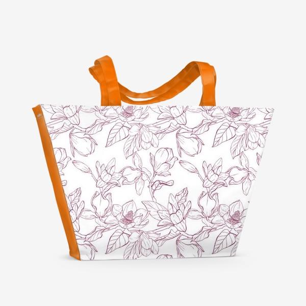 Пляжная сумка «Паттерн - магнолии»