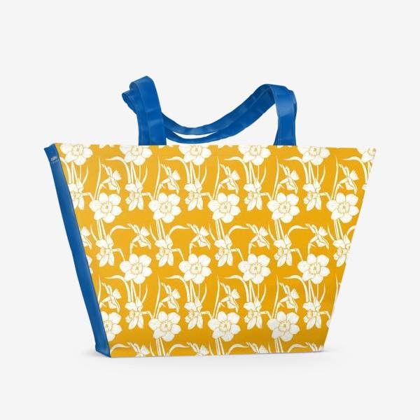 Пляжная сумка «Нарциссы на желтом фоне»