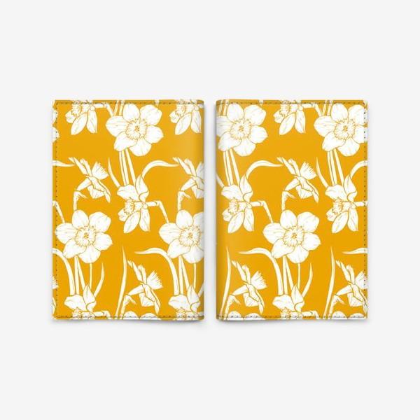 Обложка для паспорта «Нарциссы на желтом фоне»