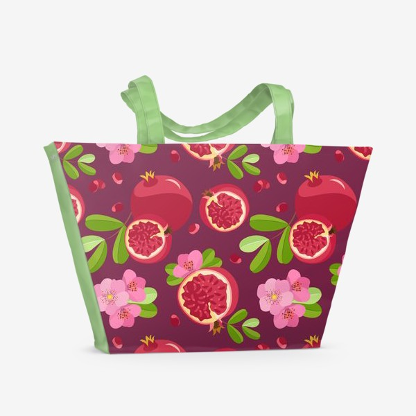 Пляжная сумка «Сладкий гранат с цветами»