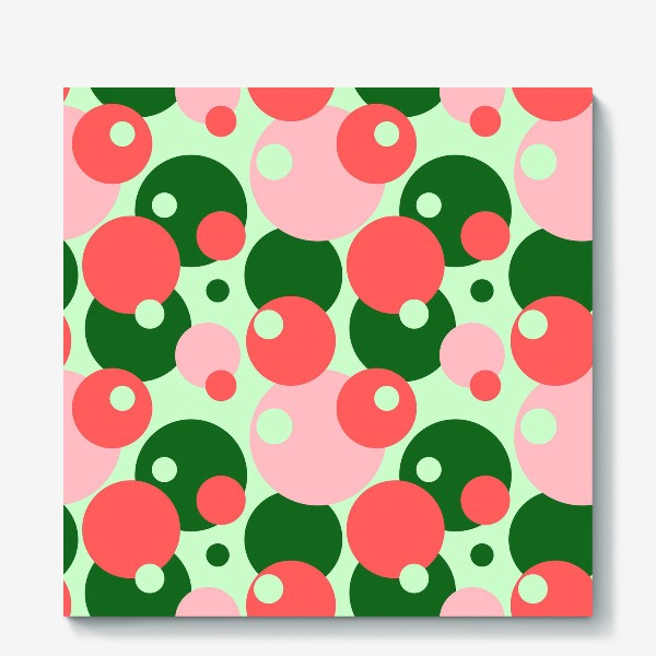 Холст «Цветные круги на светло-зеленом фоне»