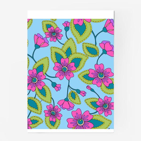 Постер «Розовые фантазийные цветы»
