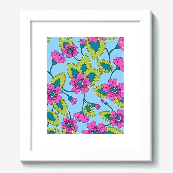 Картина «Розовые фантазийные цветы»