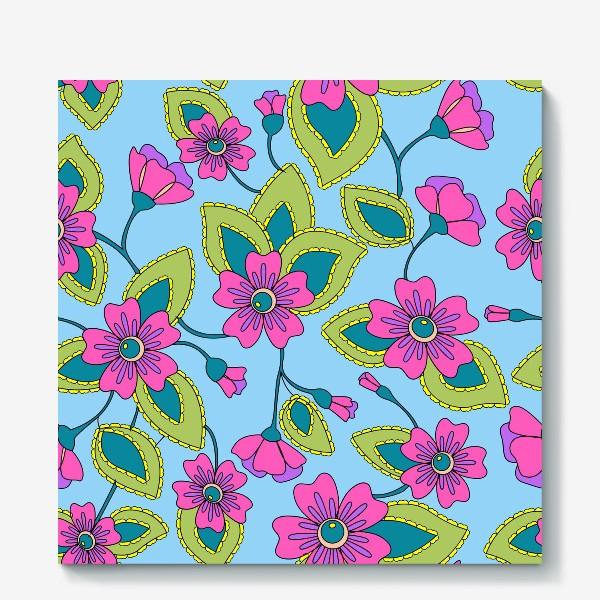 Холст «Розовые фантазийные цветы»