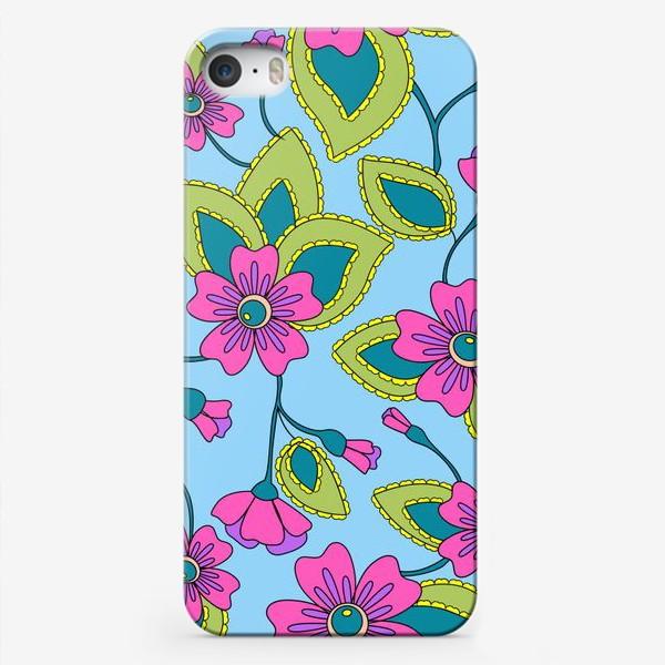Чехол iPhone «Розовые фантазийные цветы»