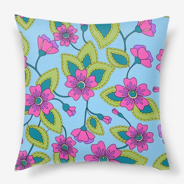 Подушка «Розовые фантазийные цветы»