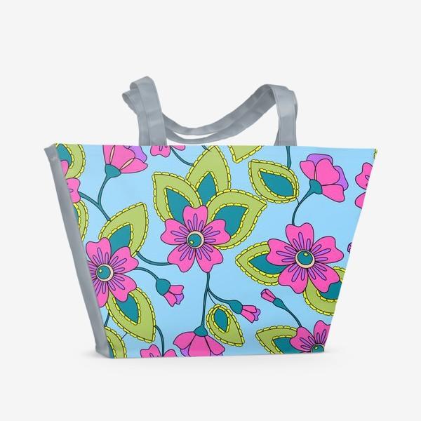 Пляжная сумка «Розовые фантазийные цветы»
