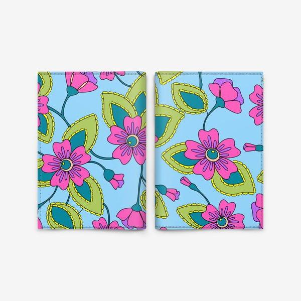 Обложка для паспорта «Розовые фантазийные цветы»