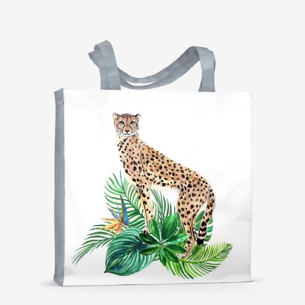 Сумка-шоппер «леопард в тропиках»