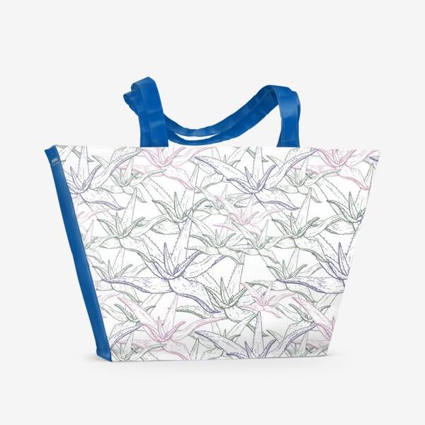 Пляжная сумка «Алоэ вера паттерн»