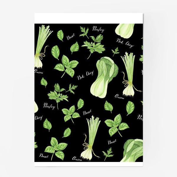 Постер «Зеленые овощи на черном фоне»