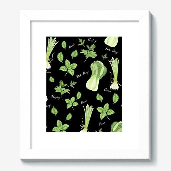 Картина «Зеленые овощи на черном фоне»