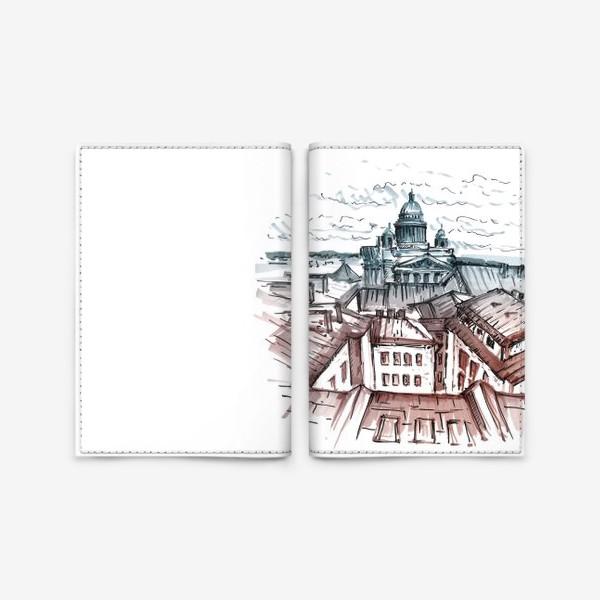 Обложка для паспорта «Крыши Питера. Скетч маркерами»