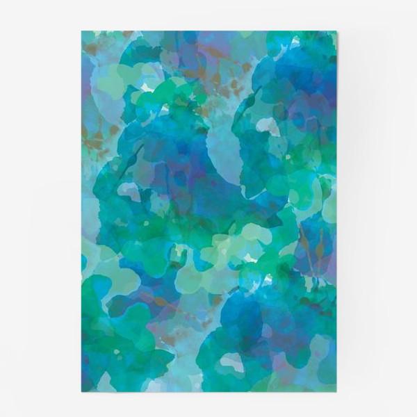 Постер «голубая цветочная абстракция»