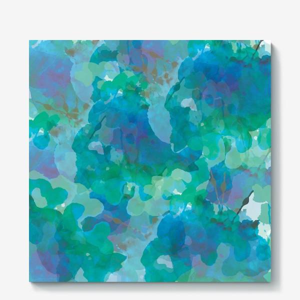 Холст «голубая цветочная абстракция»