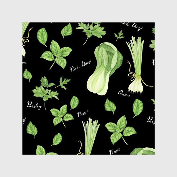 Шторы «Зеленые овощи на черном фоне»
