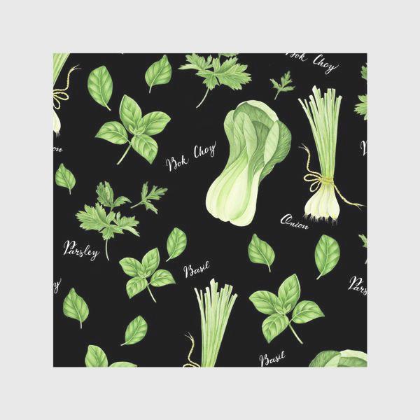 Скатерть «Зеленые овощи на черном фоне»