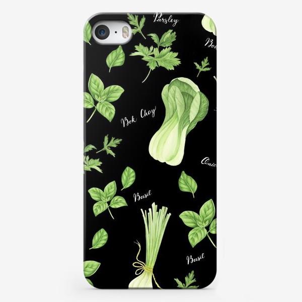 Чехол iPhone «Зеленые овощи на черном фоне»
