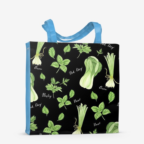 Сумка-шоппер «Зеленые овощи на черном фоне»