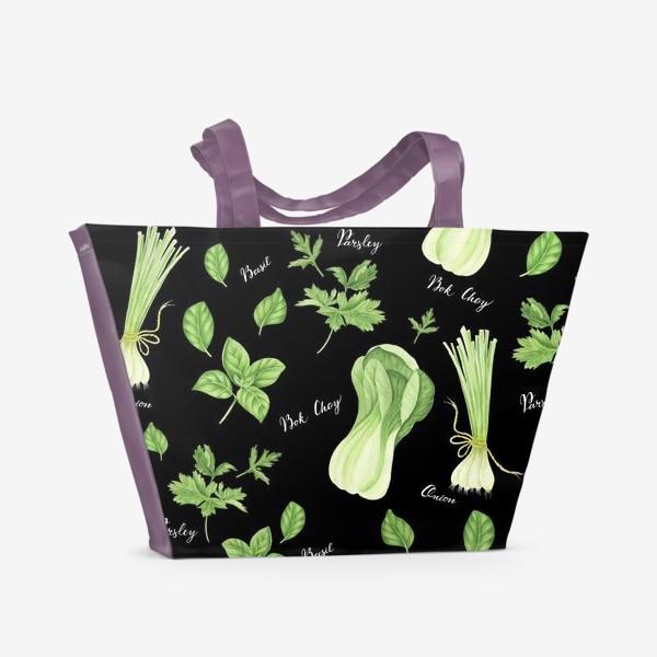 Пляжная сумка «Зеленые овощи на черном фоне»