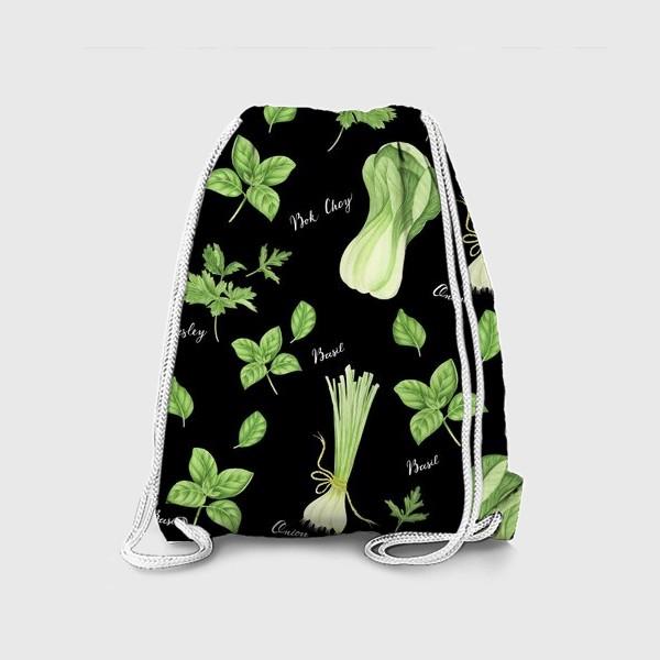 Рюкзак «Зеленые овощи на черном фоне»