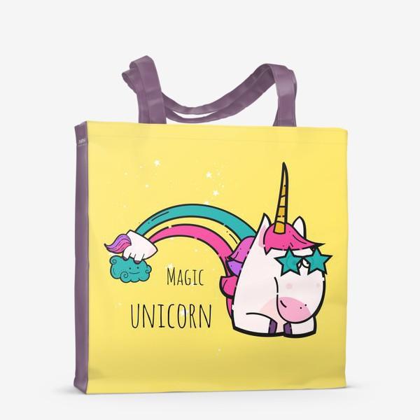 Сумка-шоппер «Крутой единорог в очках на радуге»
