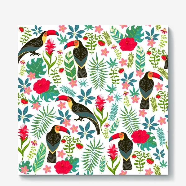 Холст «Туканы с орнаментом на фоне тропических цветов и листьев.»