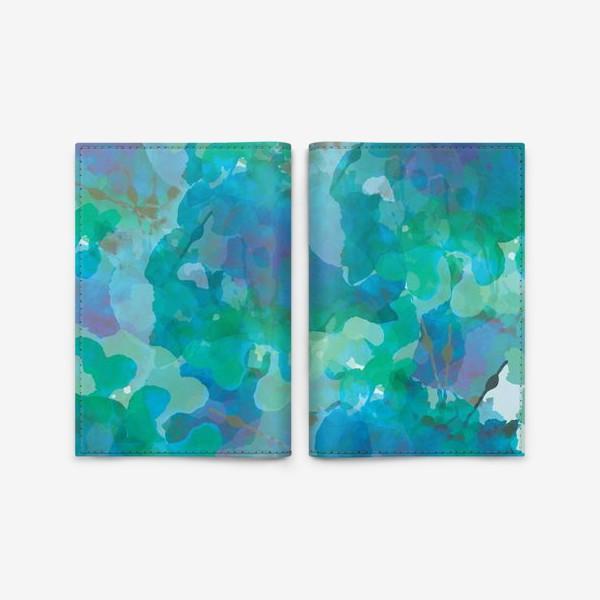 Обложка для паспорта «голубая цветочная абстракция»