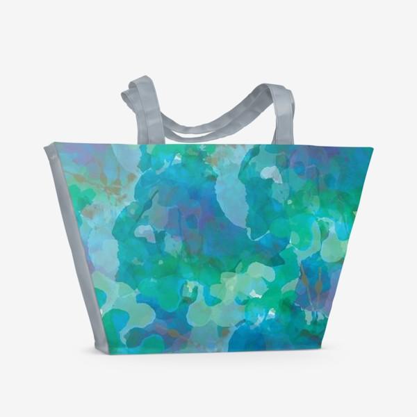 Пляжная сумка «голубая цветочная абстракция»