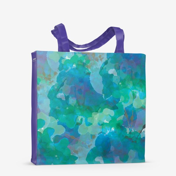 Сумка-шоппер «голубая цветочная абстракция»