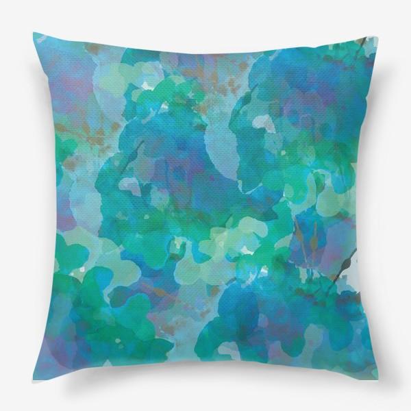 Подушка «голубая цветочная абстракция»