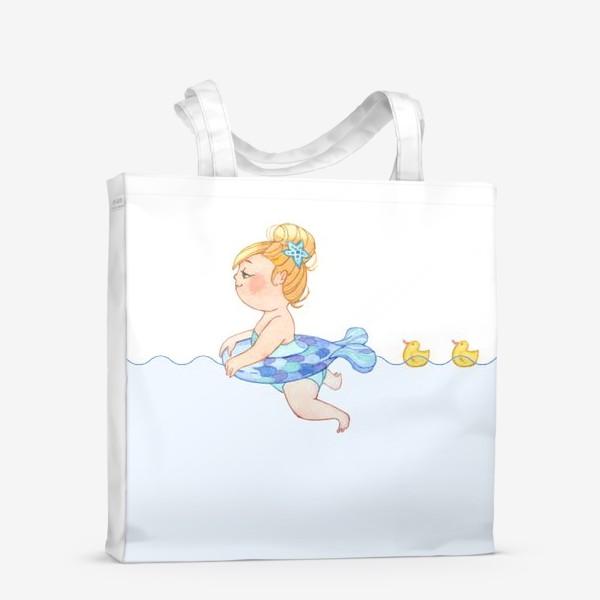 Сумка-шоппер «Маленькая девочка плавает с желтыми уточками»