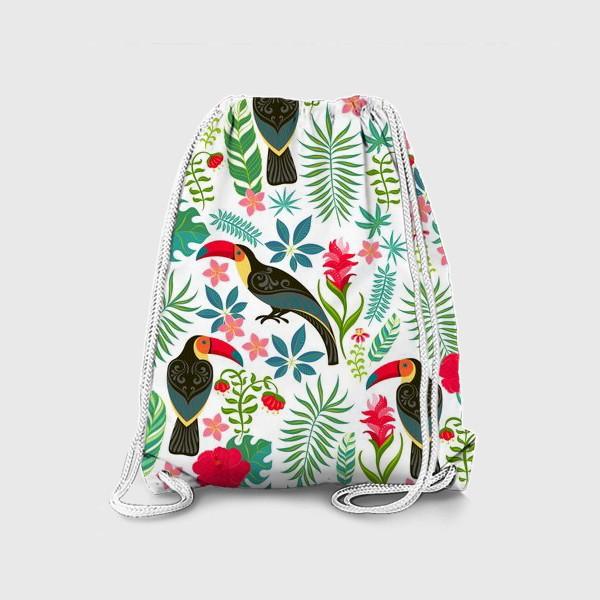 Рюкзак «Туканы с орнаментом на фоне тропических цветов и листьев.»