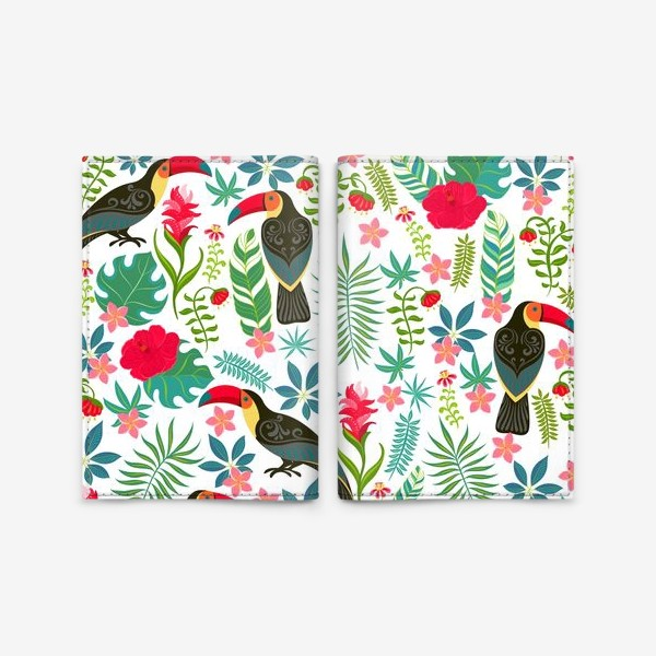 Обложка для паспорта «Туканы с орнаментом на фоне тропических цветов и листьев.»