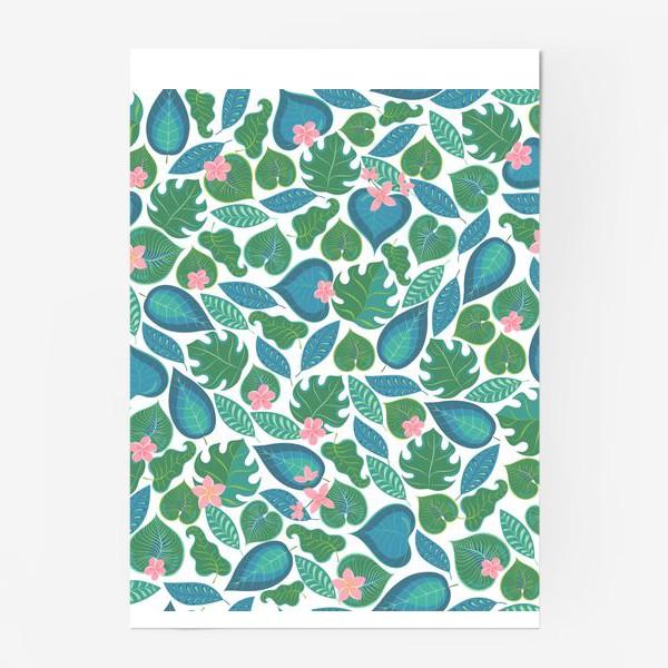 Постер «Тропические листья и розовые цветы. »