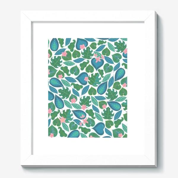 Картина «Тропические листья и розовые цветы. »