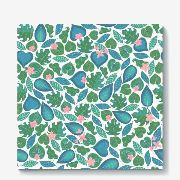 Холст «Тропические листья и розовые цветы. »