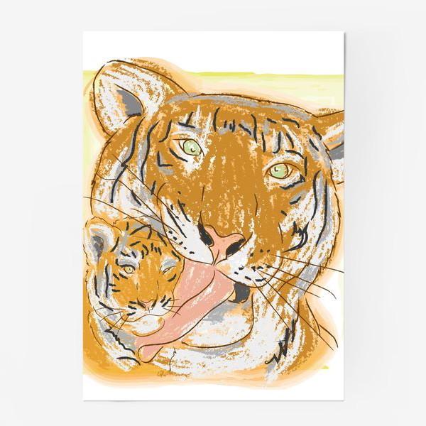 Постер «Утренние умывашки. Мама тигрица и тигренок»