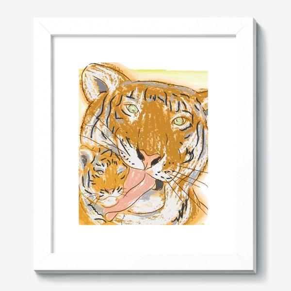 Картина «Утренние умывашки. Мама тигрица и тигренок»