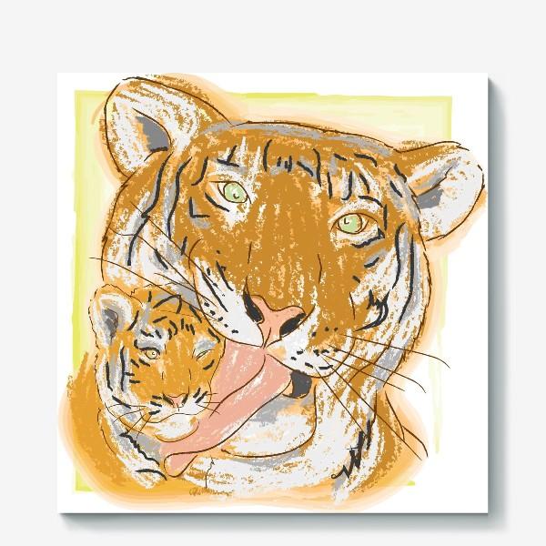 Холст «Утренние умывашки. Мама тигрица и тигренок»