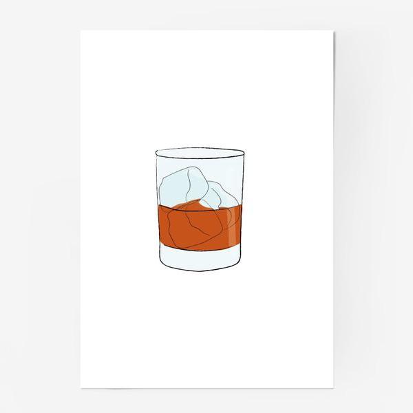 Постер «Виски со льдом, алкогольный напиток»