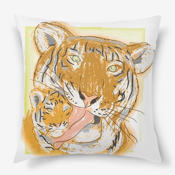 Подушка «Утренние умывашки. Мама тигрица и тигренок»