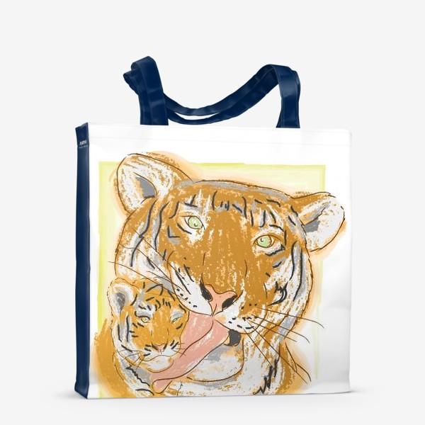 Сумка-шоппер «Утренние умывашки. Мама тигрица и тигренок»
