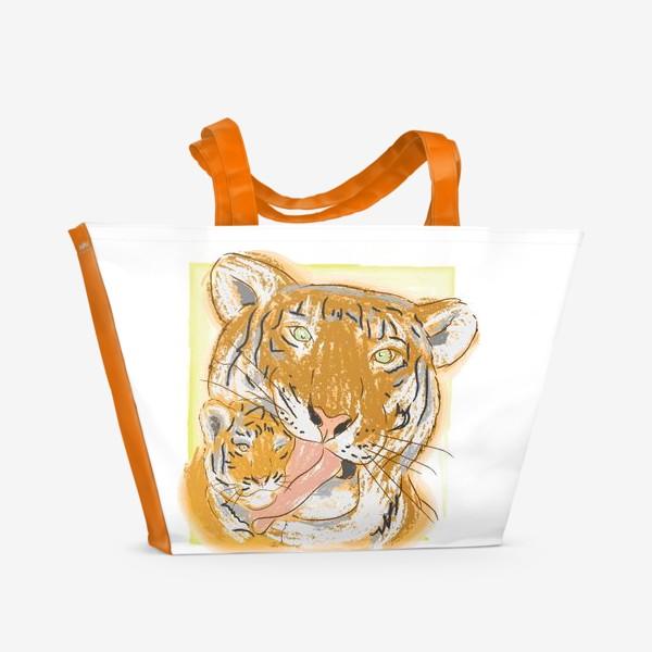Пляжная сумка «Утренние умывашки. Мама тигрица и тигренок»